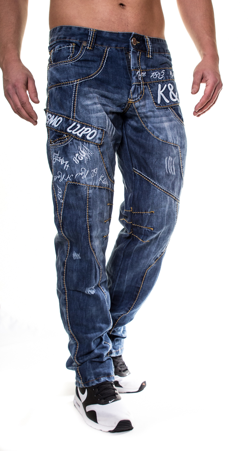 Kosmo Lupo Men's Jeans Pants Straight Cut Vintage KM322 ...
